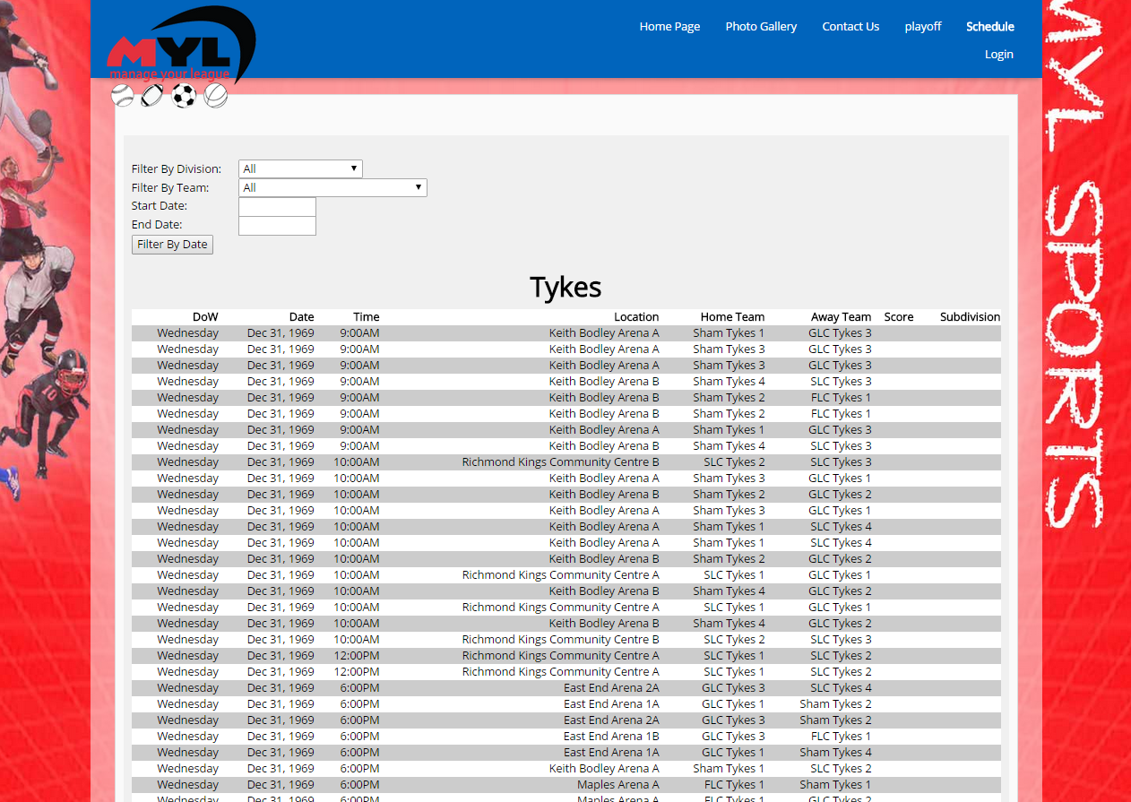 Example of the schedule system page.